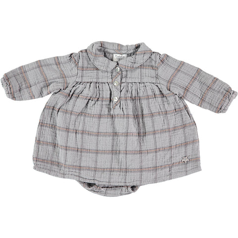 Check Peter Pan Collar Baby Dress by Tocoto Vintage