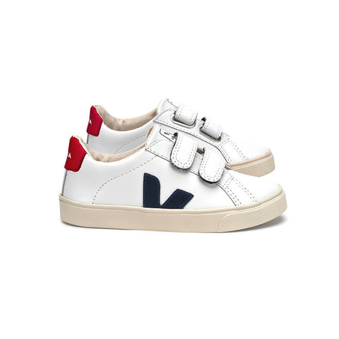 Esplar Small Velcro Leather Trainers in Extra White / Nautico by Veja