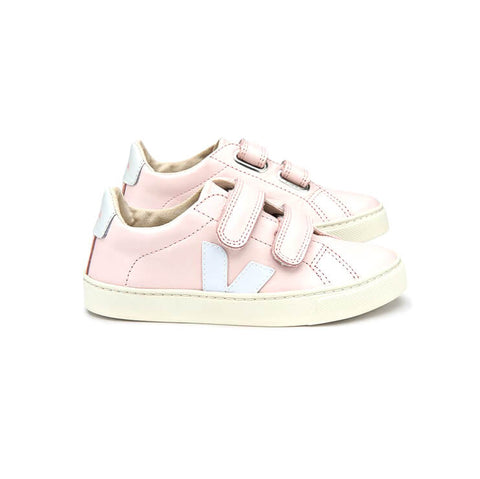 Esplar Small Velcro Leather Trainers in Petale / White by Veja