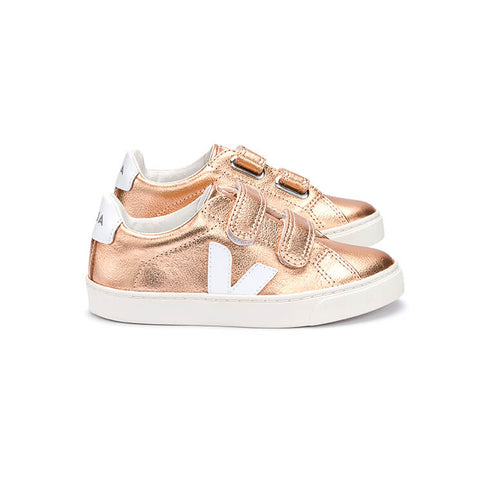 Esplar Small Velcro Leather Trainers in Venus Rose Gold / White by Veja