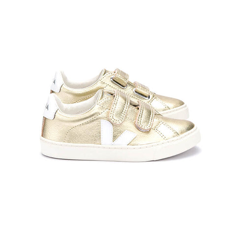 Esplar Small Velcro Leather Trainers in Gold / White by Veja