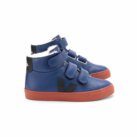 Esplar Mid Fur Lined Velcro Leather Trainers in Cobalt Blue by Veja