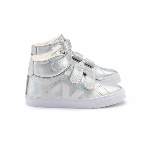 Esplar Mid Fur Lined Velcro Leather Trainers in Unicorn by Veja