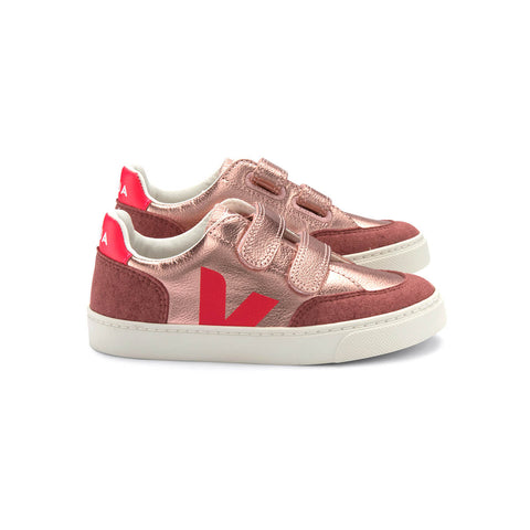 V-12 Velcro Leather Trainers in Pink Gold / Flouro by Veja