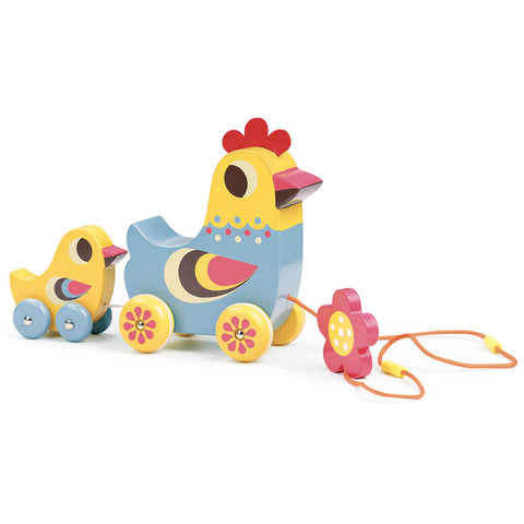 Ingela P. Arrhenius Hen And Chick Musical Pull Toy by Vilac - Junior Edition