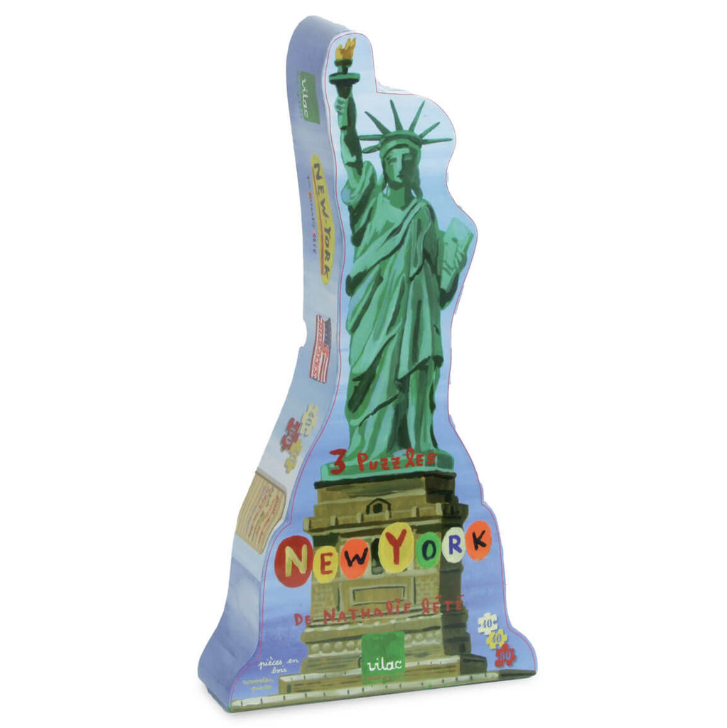 Nathalie Lété New York Wooden Jigsaw Puzzle Set of 3 by Vilac - Junior Edition