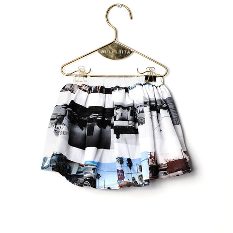 Leonor Skirt Baby Bloomers in On The Road Print by Wolf And Rita - Junior Edition