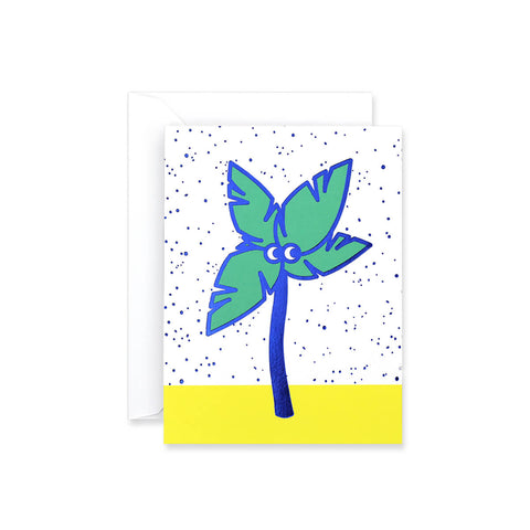 Palm Tree Foil Blocked Mini Greetings Card by Rachel Peck for Wrap - Junior Edition