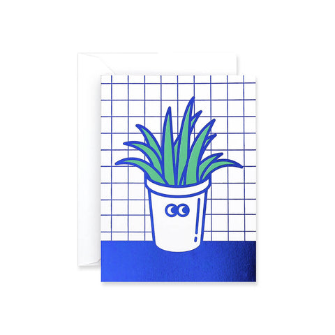 Pot Plant Foil Blocked Mini Greetings Card by Rachel Peck for Wrap - Junior Edition