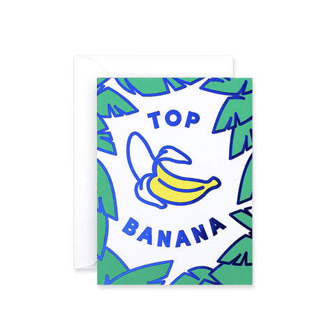 Top Banana Foil Blocked Mini Greetings Card by Rachel Peck for Wrap - Junior Edition