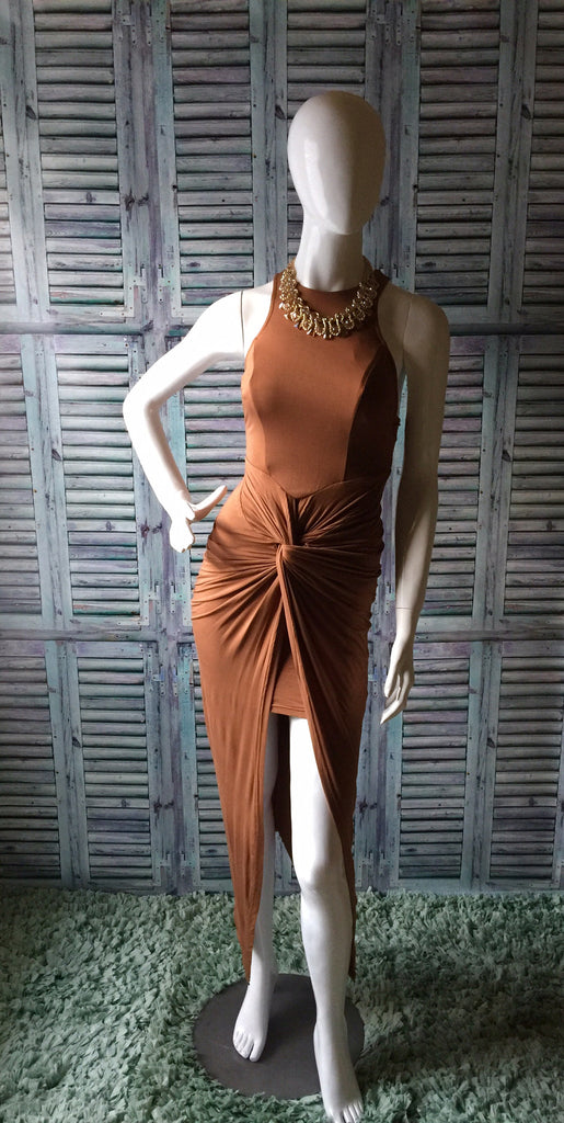 Brown Sugar-Baby Maxi Knot Dress