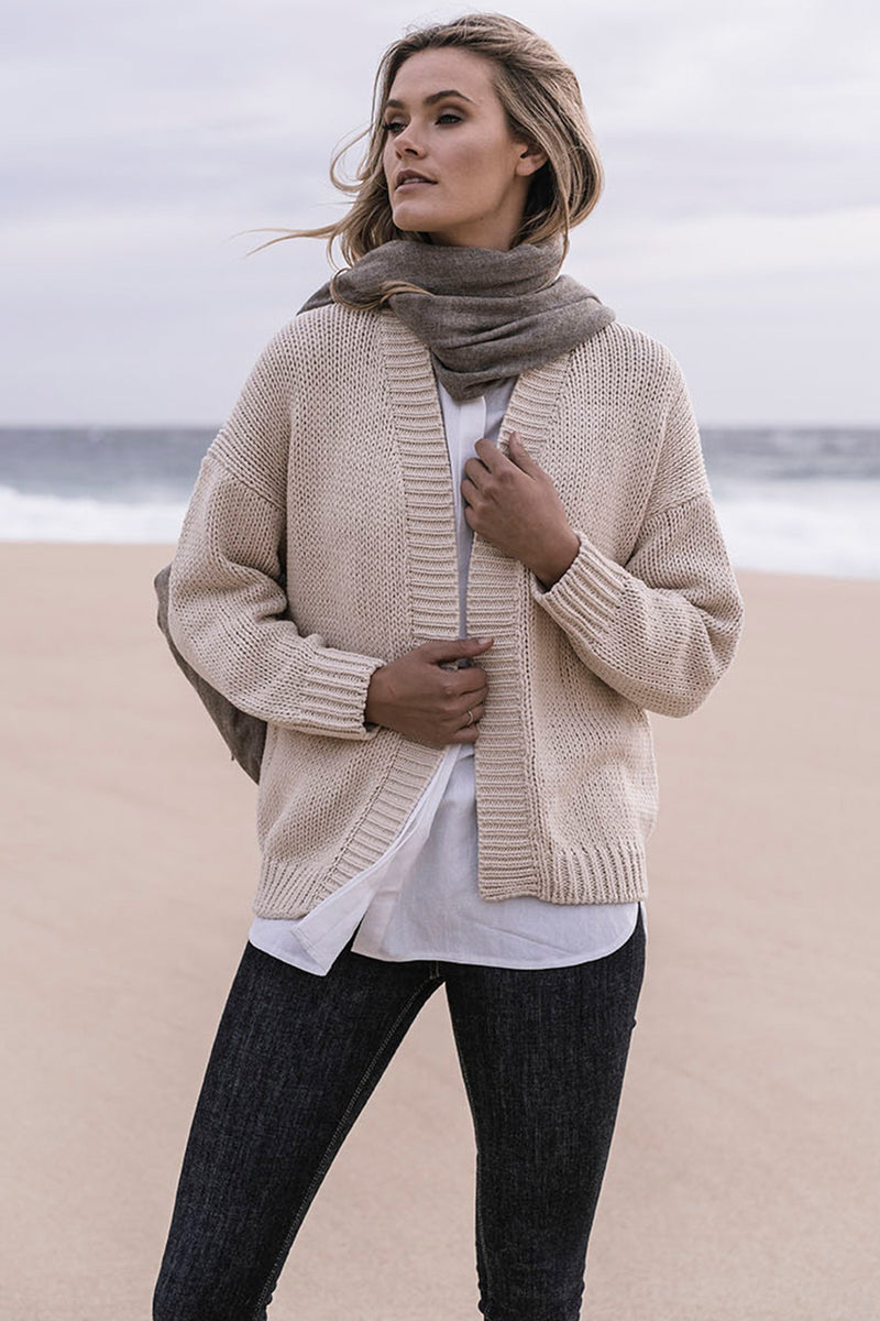 Humidity Lifestyle / Melange Wool Mix Scarf / Camel
