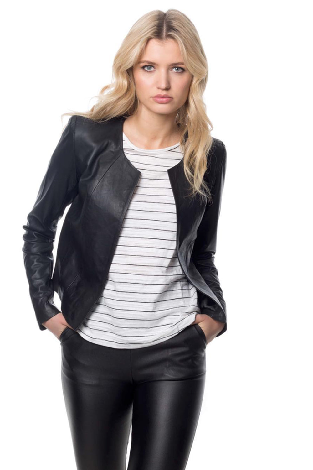 Dea / Texas Johnny Milla Crop Leather Jacket / Black