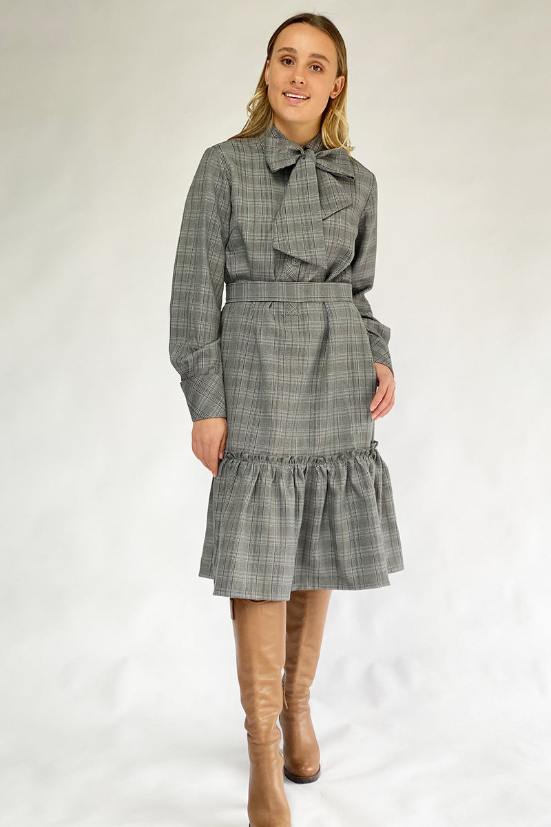 Penelope Shirt Dresses / Pussy Bow Dress / Wool Plain
