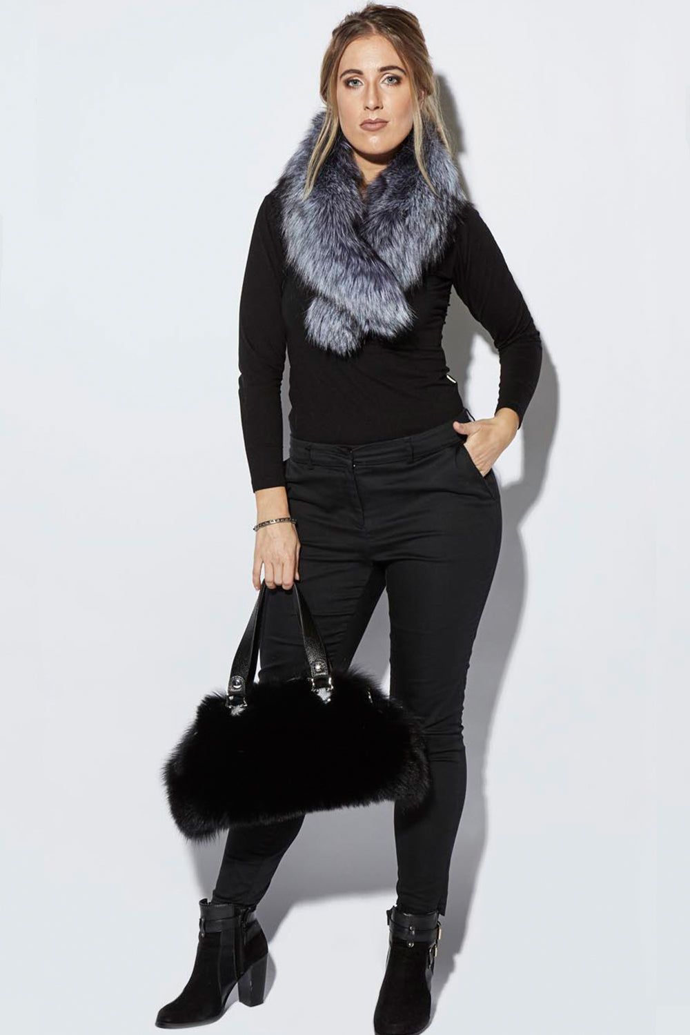 Elle Essential / Silver  Fur Collar / Grey