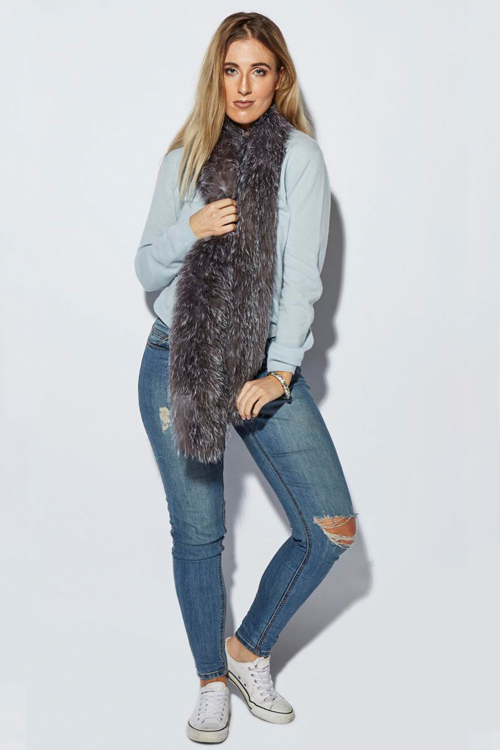 Elle Essential / College Long Fur Scarf / Grey
