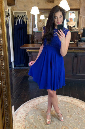 Love & Lace Dress - Bright Blue