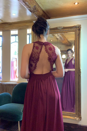 Lace Back Dress - Bordeaux