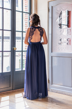 Lace Back Dress - Navy