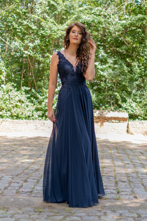 Romantic Lace Dress - Navy