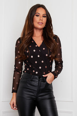 Dotty Bodysuit- Black & Rose Gold