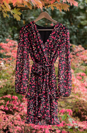 Adorable Autumn Dress - Black & Hot Pink