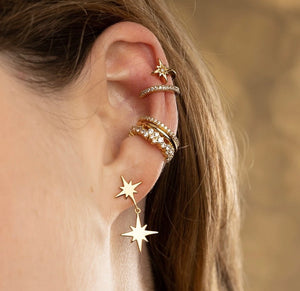 Double Star Stud Earrings - Gold