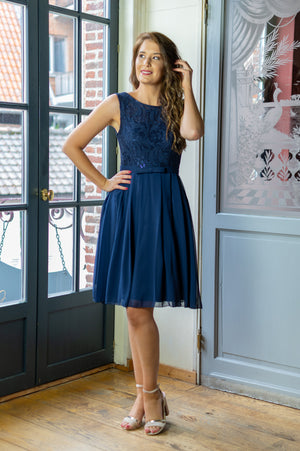 Cute As A Button Dress - Navy