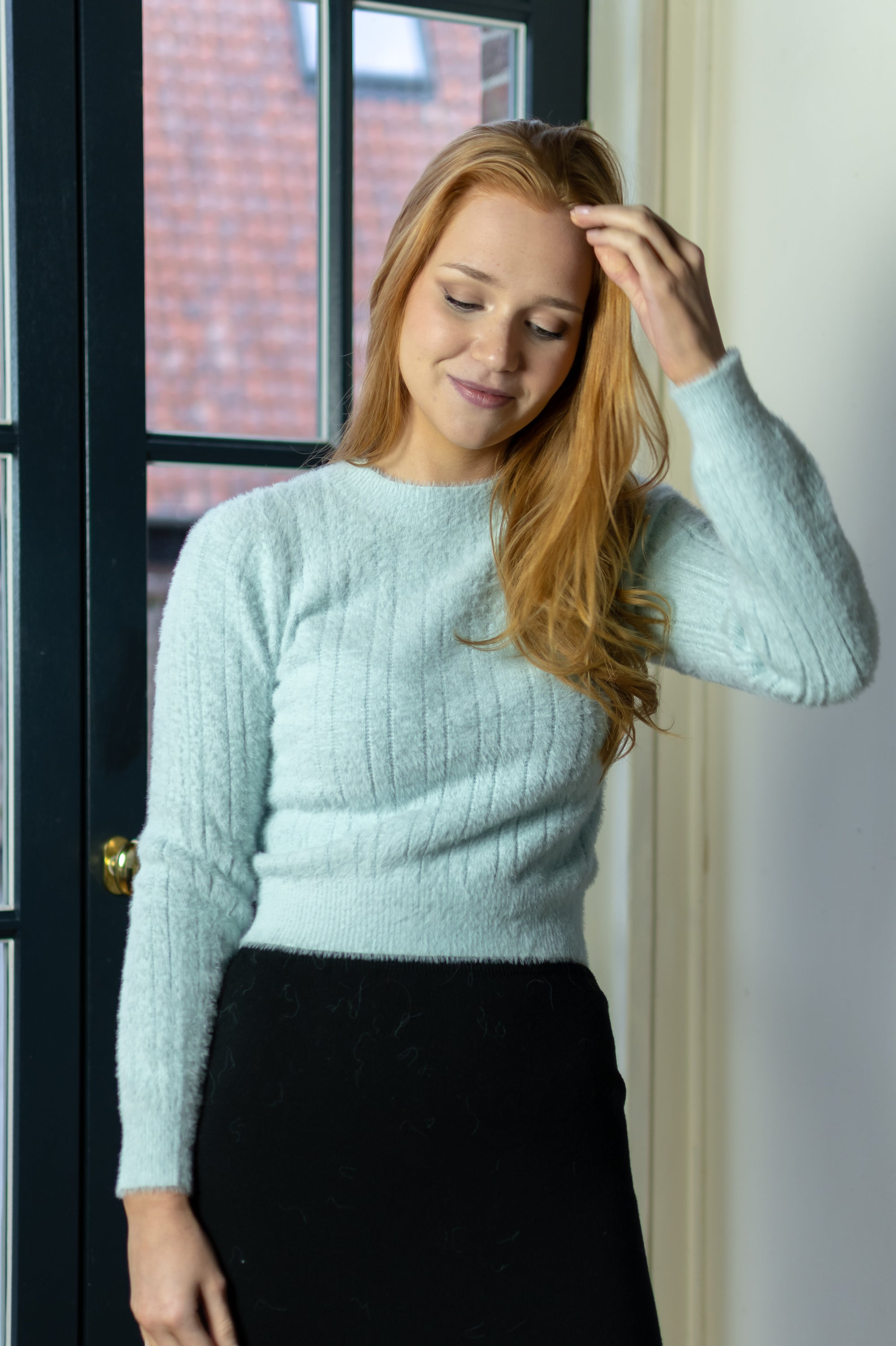 Cropped Sweater - Baby Blue
