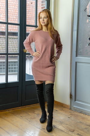 Fluffy Sweater Dress - Old Pink