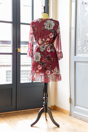 Fancy Fall Dress - Floral Bordeaux