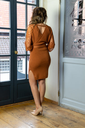 A Hint Of Lace Dress - Rust
