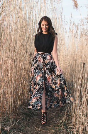 Sunshine Vibes Skirt - Black & Print
