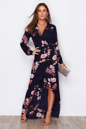 In Style Dress - Navy & Pink Long Sleeves