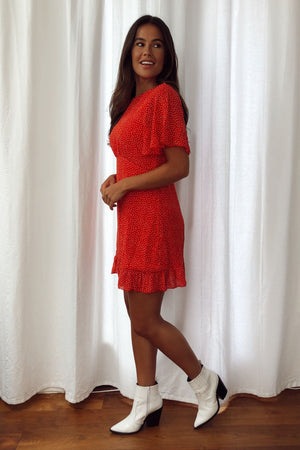 Strolling Around Dress - Red