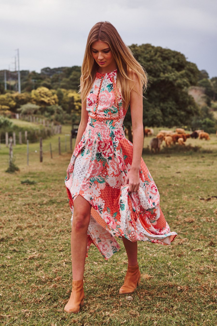 Tropical Vibes Dress - Pink Bouquet