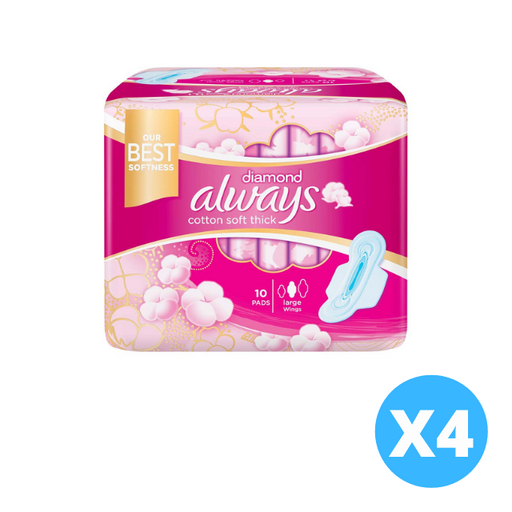 Always Diamond Maxi Thick, Large sanitary pads with wings, 40 ct - Pack of 4 Pieces