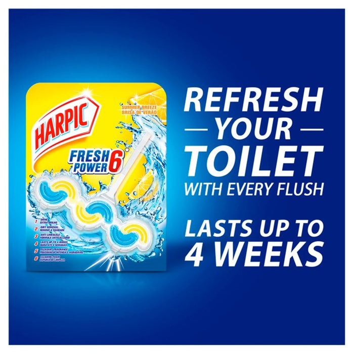 Harpic Fresh Power 6 Rim Block Summer Breeze Toilet Cleaner 39g