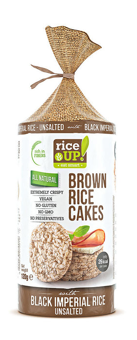 RiceUP BROWN Rice Cakes Black Unsalted Vegan, 120 g