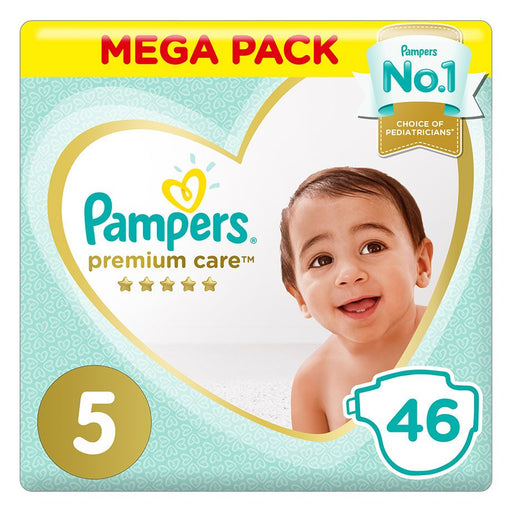 Pampers Premium Care Diapers, Size 5, Junior, 11-16 Kg, Mega Pack, 46 Count - Talabac