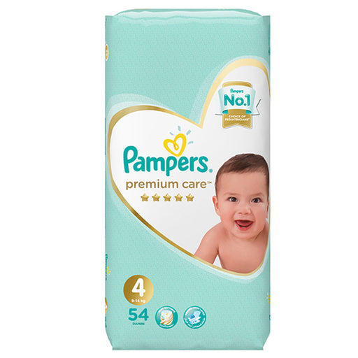 Pampers Premium Care Diapers, Size 4, Maxi, 9-14 kg, Mega Pack, 54 Count