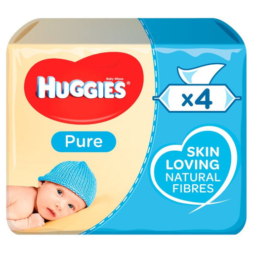 Huggies Pure Baby Wipes 4 x 56 per pack (made in the Britain)