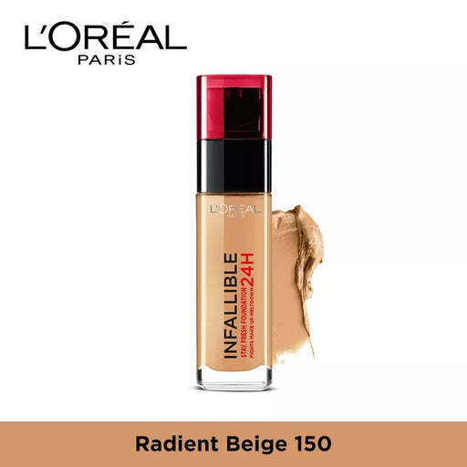 LOréal Infallible 24H Liquid Foundation 150 Radiant Beige. 30ml (Made in France). - Talabac