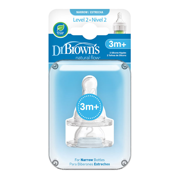 Dr. Browns - Level 2 Silicone Narrow Options+ Nipple 2pcs