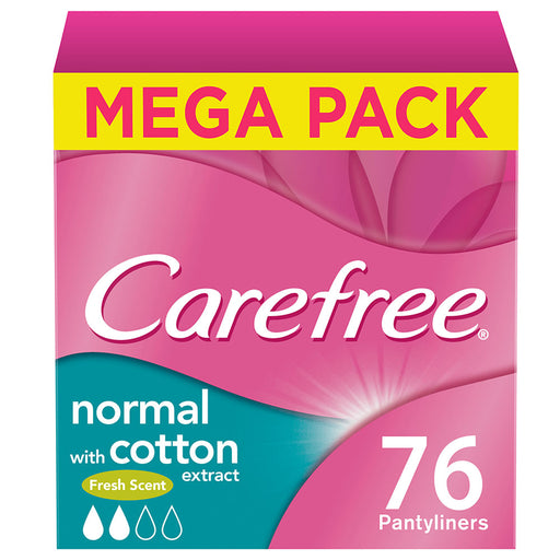 Carefree Panty Liners, Cotton, Fresh Scent, Pack of 76