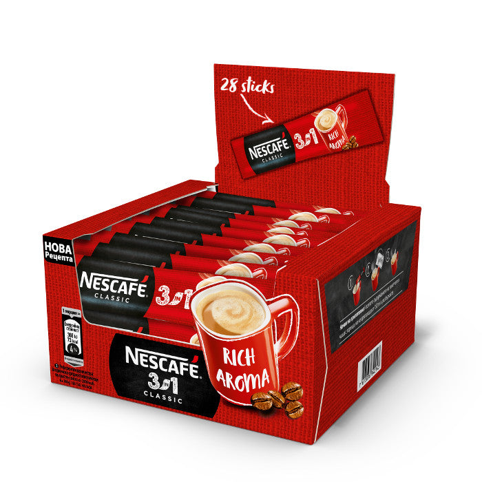 Nescafe 3in1 Instant Coffee Mix Sachet, Pack of 28 Sticks