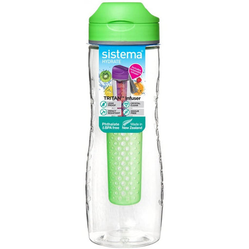 Sistema Tritan Infuser Bottle, Green - 800ml