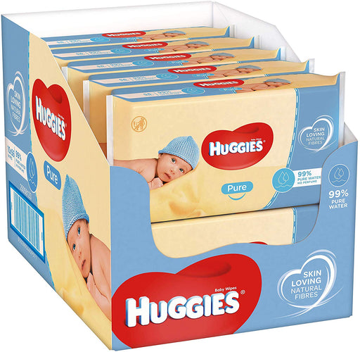 Huggies Pure Baby Wipes 10 x 56 per pack( Case of 10), Total 560 Wipes (made in the Britain)