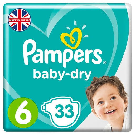 Pampers Baby-Dry Size 6, 13-18kg, Essential Pack 33 per pack (Made in Britain)