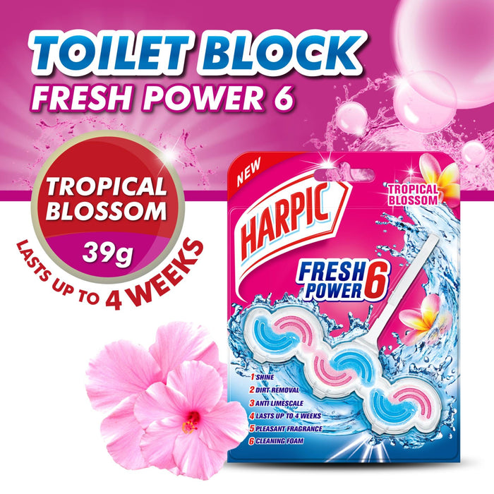 Harpic Fresh Power 6 Tropical Blossom Toilet Cleaner 39g